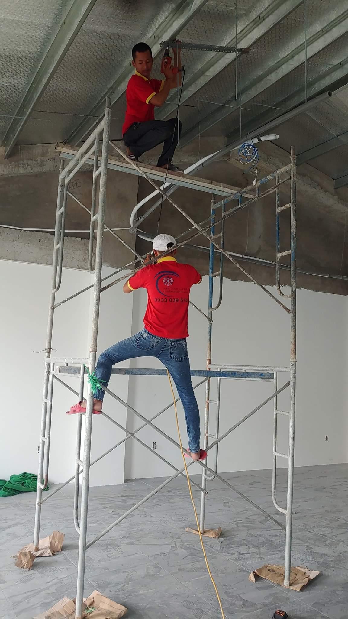 Thi công ống đồng máy lạnh âm tường 1